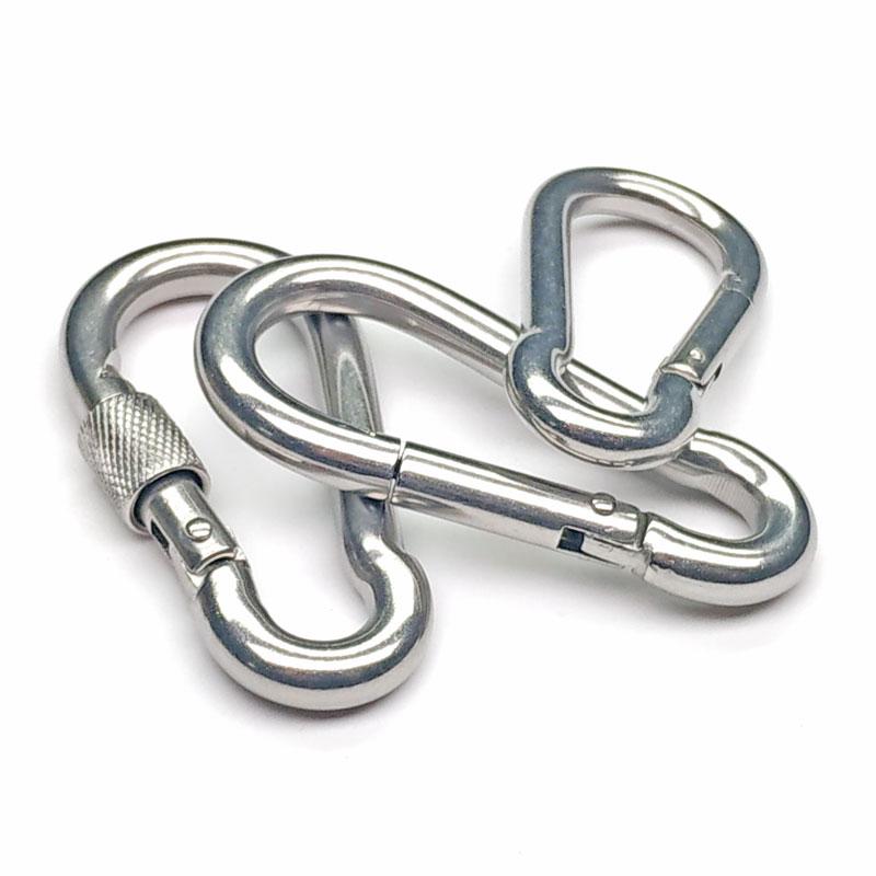 链条环形带锁连接挂扣 登山保险安全扣 弹簧扣 不锈钢快速接环 304