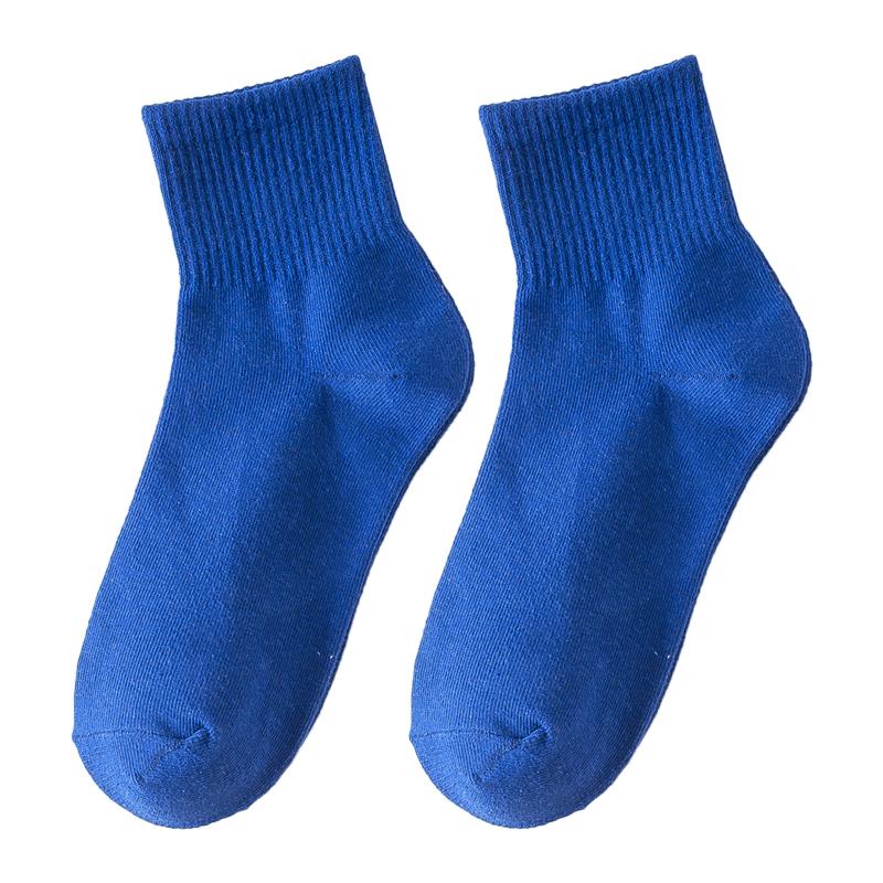 网红彩色袜子女薄款学生中筒袜潮韩版学院风糖利色运动袜 ins 夏季