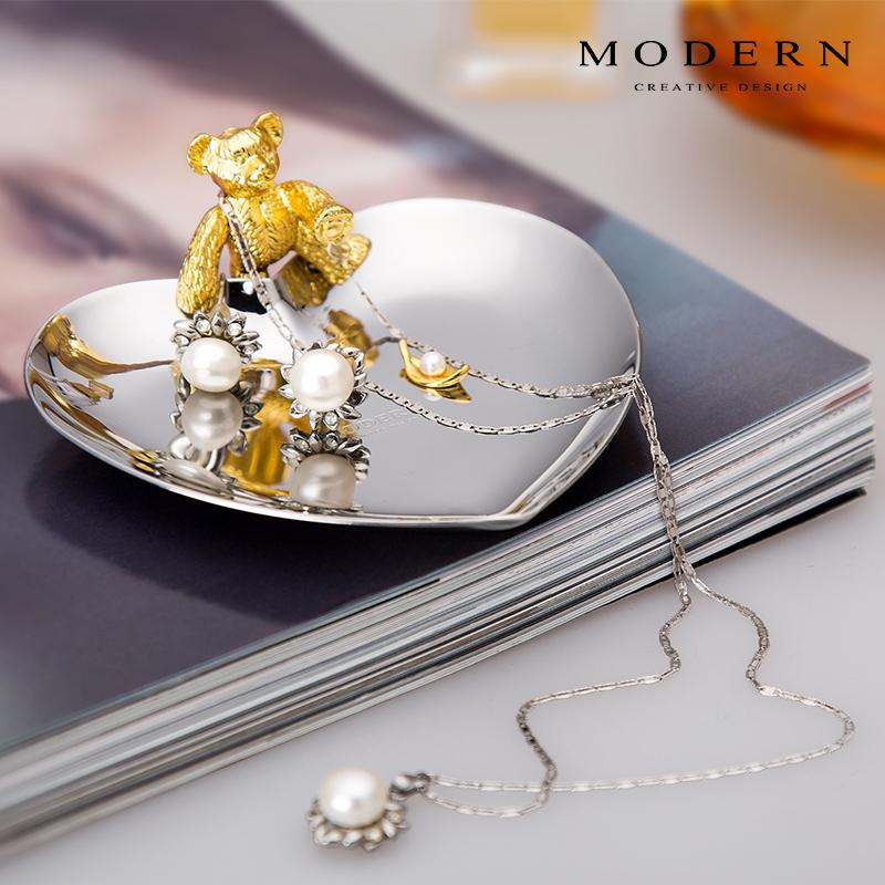 德国MODERN珍珠首饰小熊饰品盘梳妆台收纳盘卫浴摆件戒指托盘北欧