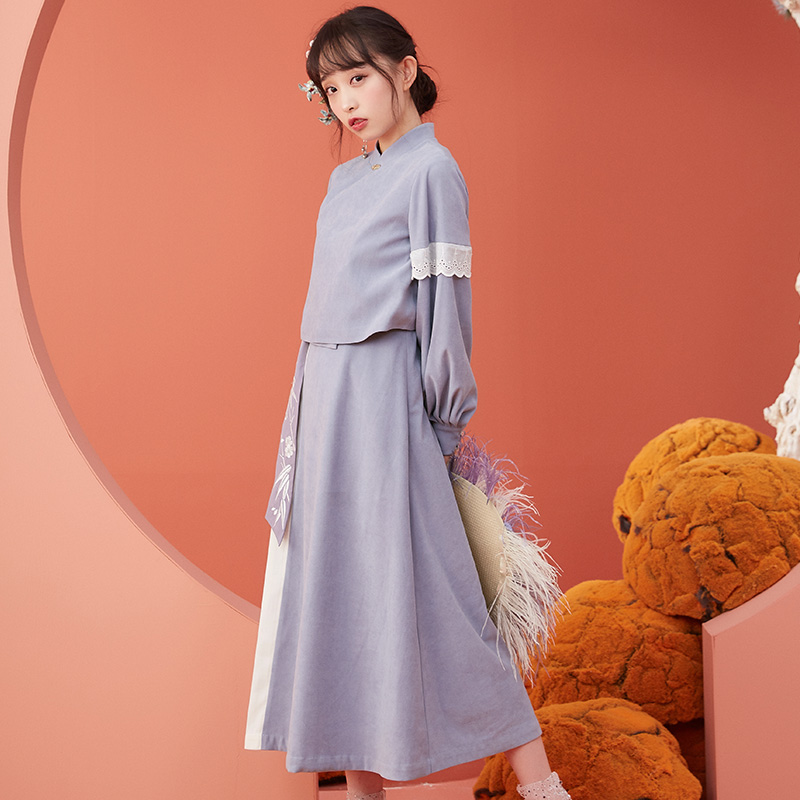 【十三余 小豆蔻儿】[竹烟]汉元素短上衣中长裙两件套套装