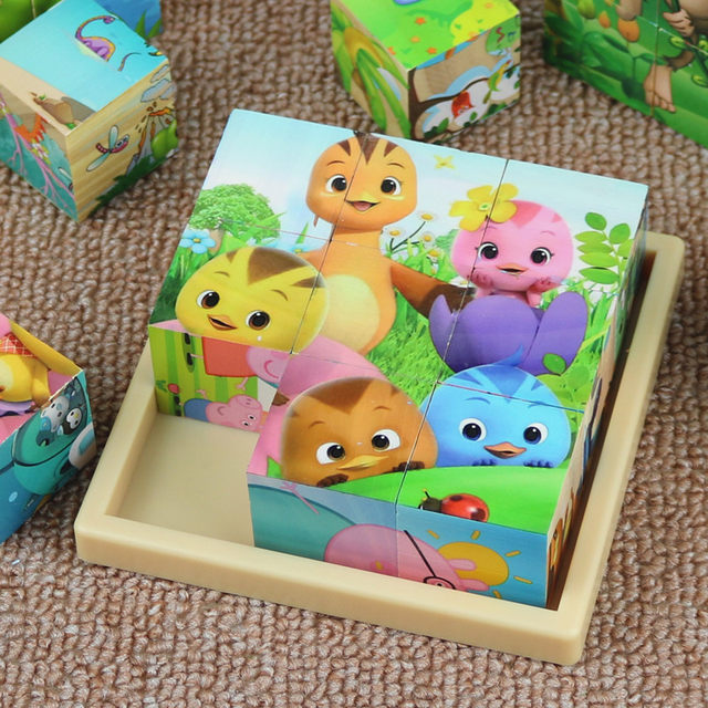 Six sided Picture Puzzle Children's benefit intelligence boy girl baby three dimensional model assembling wooden early childhood education toys