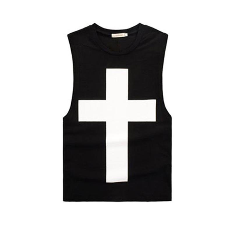 权志龙同款十字架背心宽松  恤夏 T BIGBANG GD 男女款情侣装黑白色
