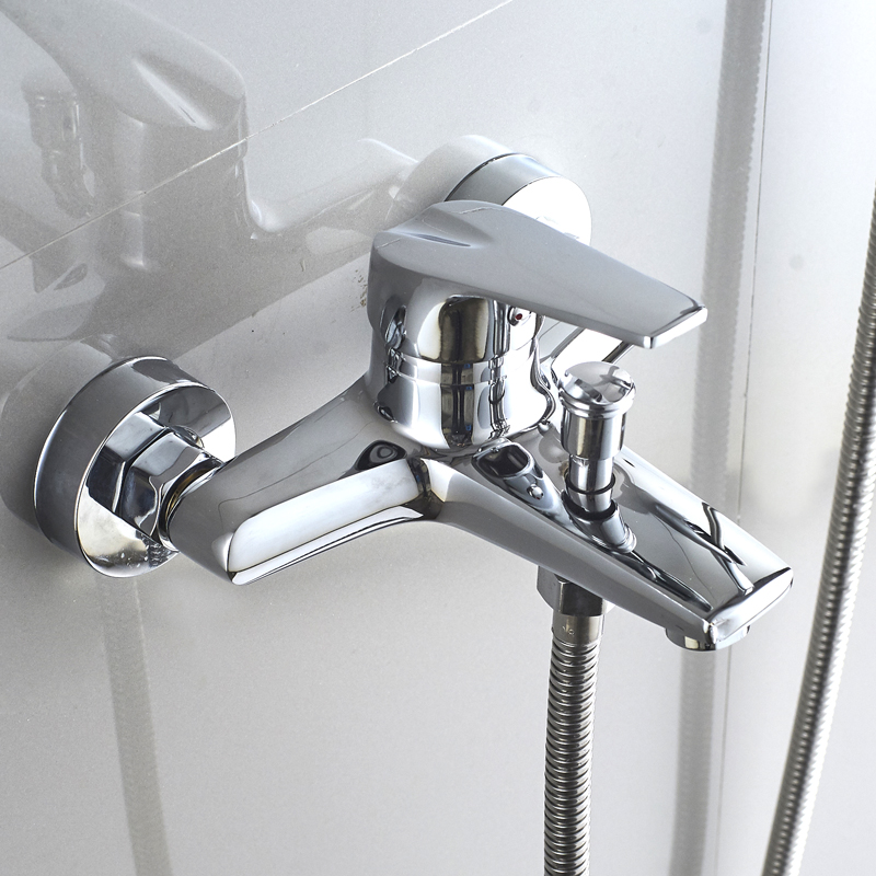 全銅淋浴龍頭浴缸龍頭浴室暗裝三聯開關冷熱水龍頭電熱水器混水閥