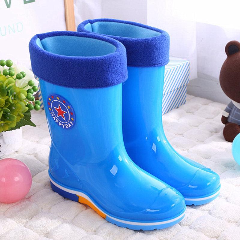 2019米奇儿童雨靴男女大小雨鞋防滑加绒中筒水鞋时尚胶鞋宝宝套鞋