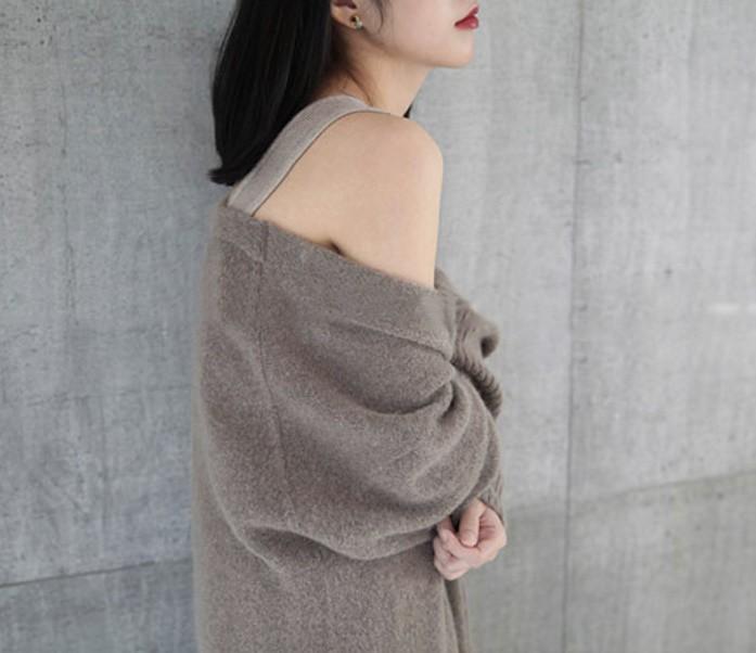秋冬新款  羊绒中长款针织开衫大衣外套毛衣 100  鄂尔多斯清仓