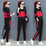 Spring 9019 new running track suit female casual Korean loose hooded sweater was thin piece big yards