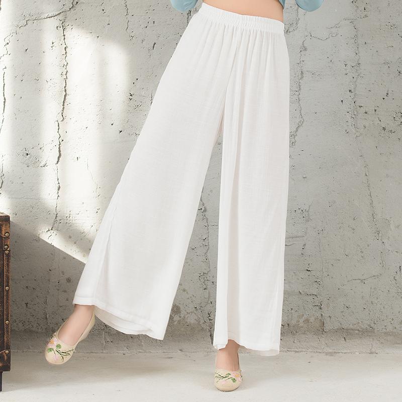 【天天特价】唐装民族风女装长裤复古棉麻纯色长款宽松大码阔腿裤