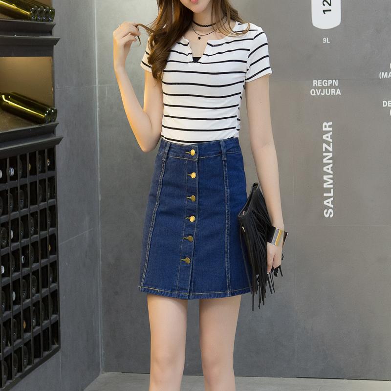 17夏季高腰牛仔裙半身裙女修身显瘦A字短裙排扣韩版裙裤包臀裙潮
