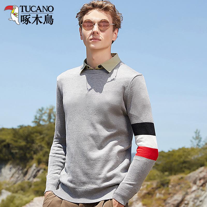 啄木鸟冬季毛衣男加厚加绒圆领长袖 恤针织衫线衣保暖衣服男装潮  T