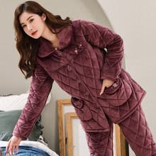 Ms. autumn and winter coral velvet pajamas three thick warm quilted velvet tracksuit middle-aged mom winter