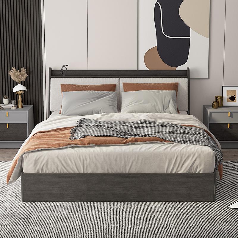 富安娜家具简约现代主卧双人床1.8m婚床1.5北欧可拆洗实木床1.2米