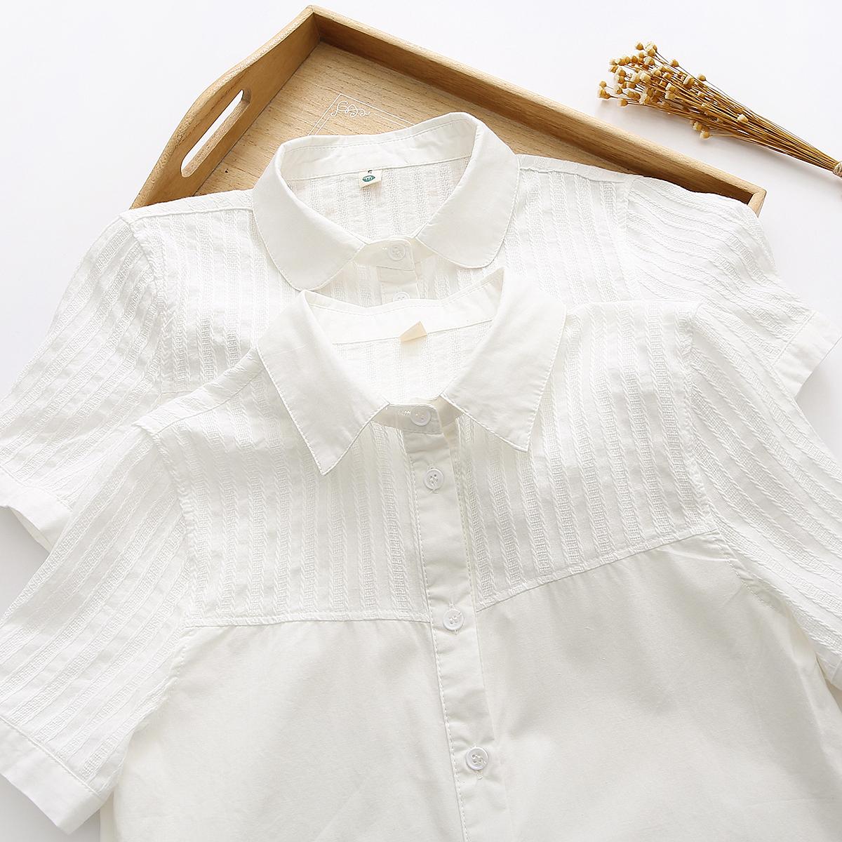 2021夏季新款娃娃领纯棉白色薄款短袖衬衫女学生宽松百搭职业衬衣