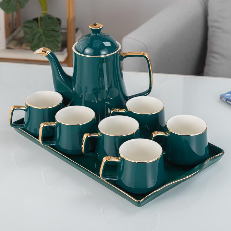 高檔水杯陶瓷套裝水壺簡約客廳高溫耐熱水杯冷水壺咖啡具套裝