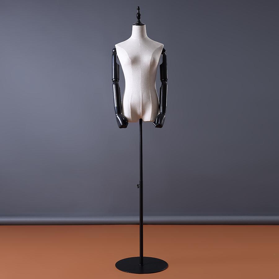 服装模特道具女半身包布橱窗假人婚纱展示模特架铁万向轮底座人台