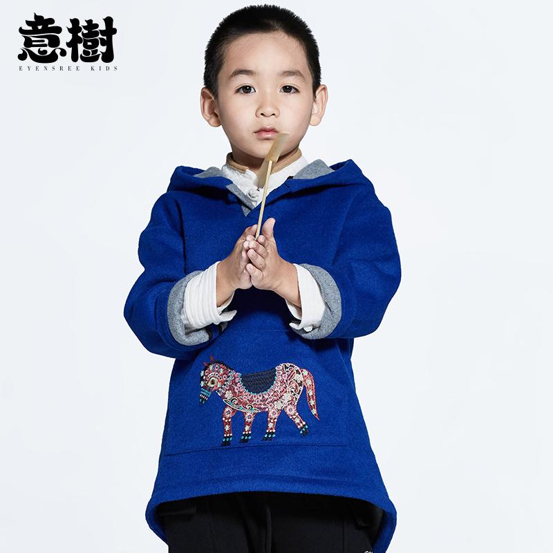 意树童装儿童呢大衣儿童斗篷男童女童中国风连帽绣花宽松外套上衣
