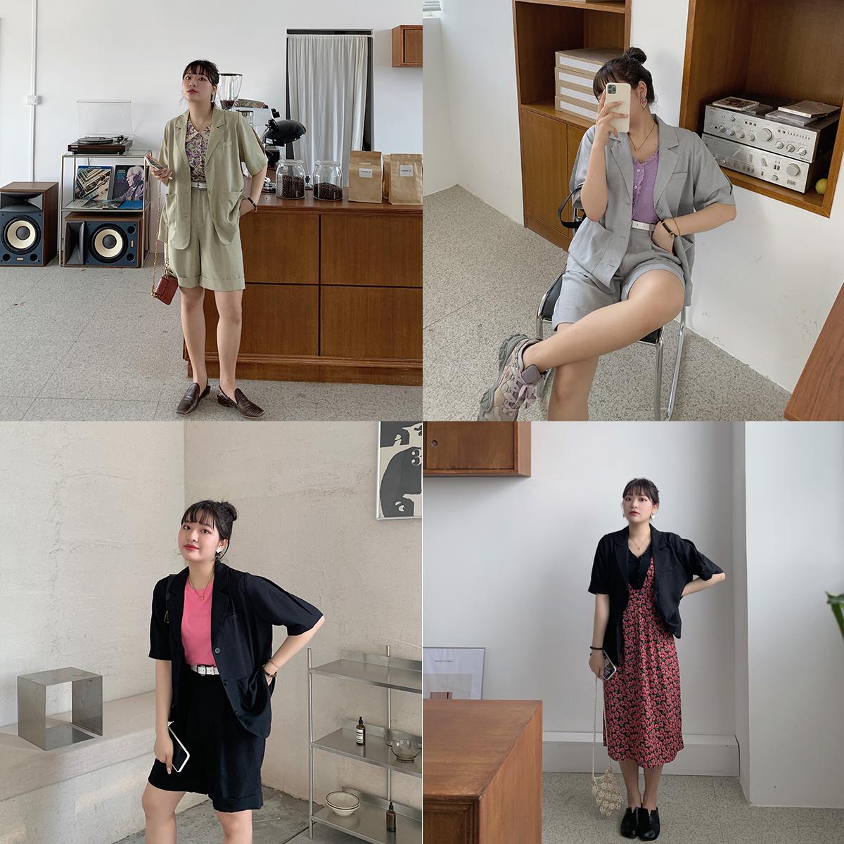 2020年新款赫本轻熟风棉麻短裤西装套装女洋气休闲时尚大码两件套