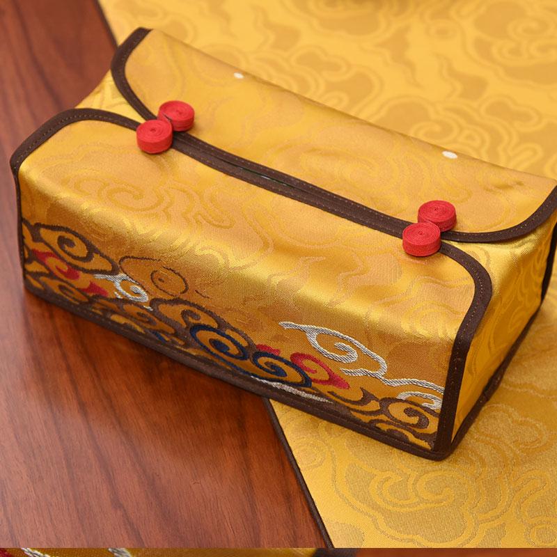 新中式祥云金黄色纸巾盒抽纸盒