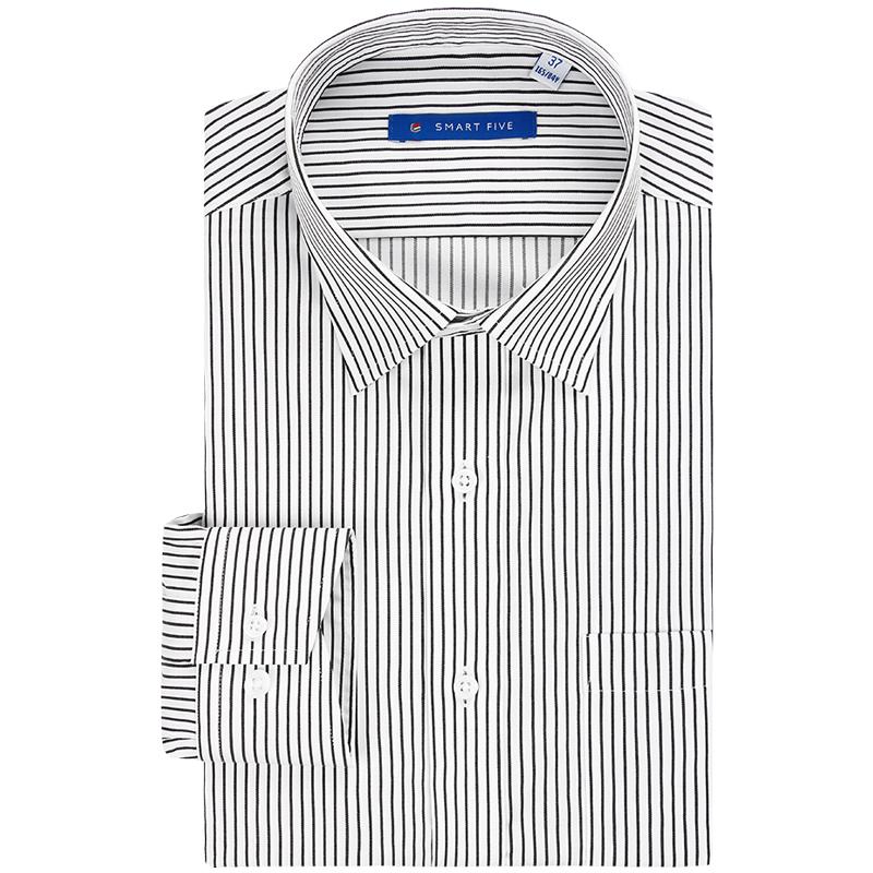 第五季秋装商务黑白条纹长袖衬衫男正装纯棉免烫衬衣青年全棉抗皱