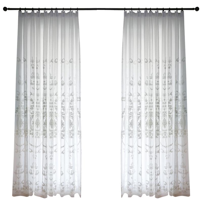 北欧风格纱帘白色窗纱简约绣花客厅窗帘高档大气欧式刺绣成品卧室