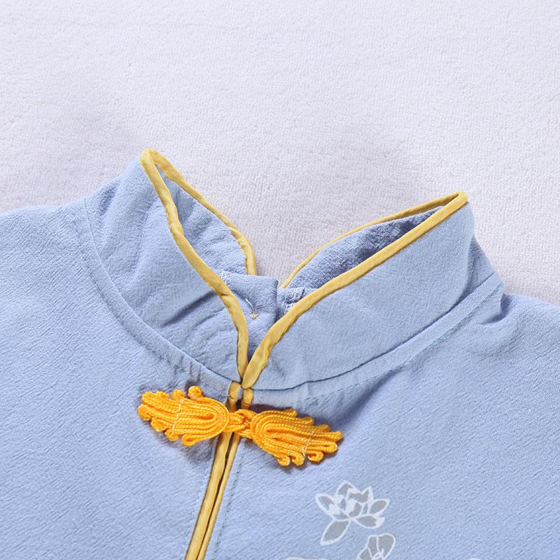 春芽小雨棉麻罩衣儿童婴儿宝宝吃饭防水长袖纯棉秋冬季倒褂幼儿园
