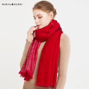 MARJAKURKI玛丽亚古琦羊毛围巾女冬季百搭红色大披肩两用保暖外搭