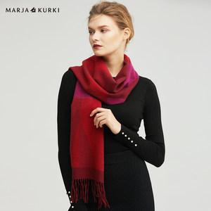 MARJAKURKI玛丽亚古琦山羊绒围巾几何女男秋冬季简约加厚围脖百搭