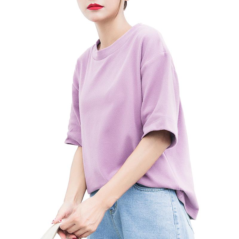 纯色短袖t恤女2019夏装韩版新款宽松百搭韩范棉白色t恤ins上衣潮