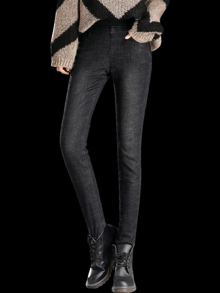 牛仔羽绒裤女外穿高腰显瘦弹力加厚2019新款冬白鸭绒保暖修身棉裤