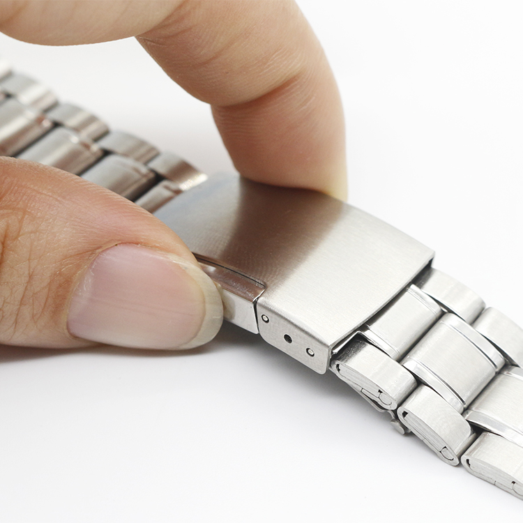 边按扣表连男通用送工具 22mm 20 18 精钢表带手表配件平口弧口银色