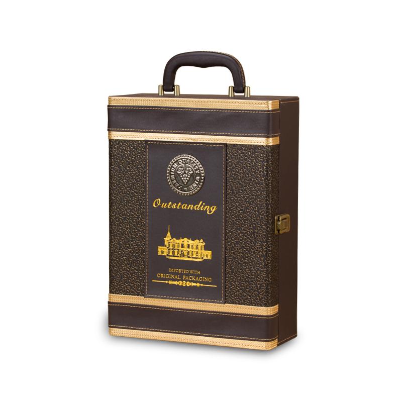 高档红酒盒皮盒双支装红酒包装盒葡萄酒礼盒红酒箱子双支礼品盒