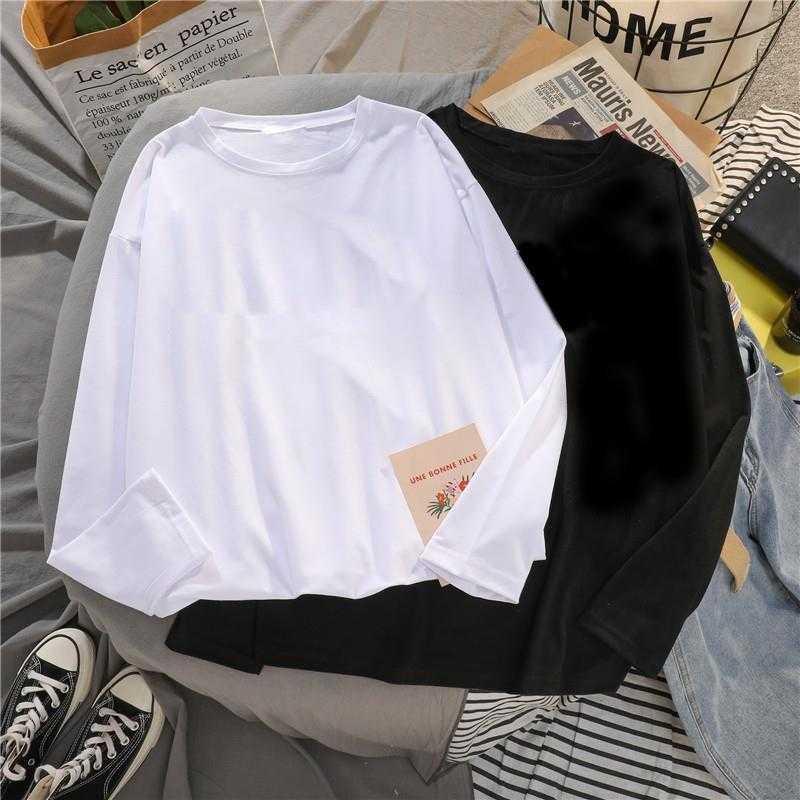 纯色长袖t恤男生春装秋衣潮流韩版ins港风体恤宽松打底衫内搭薄款