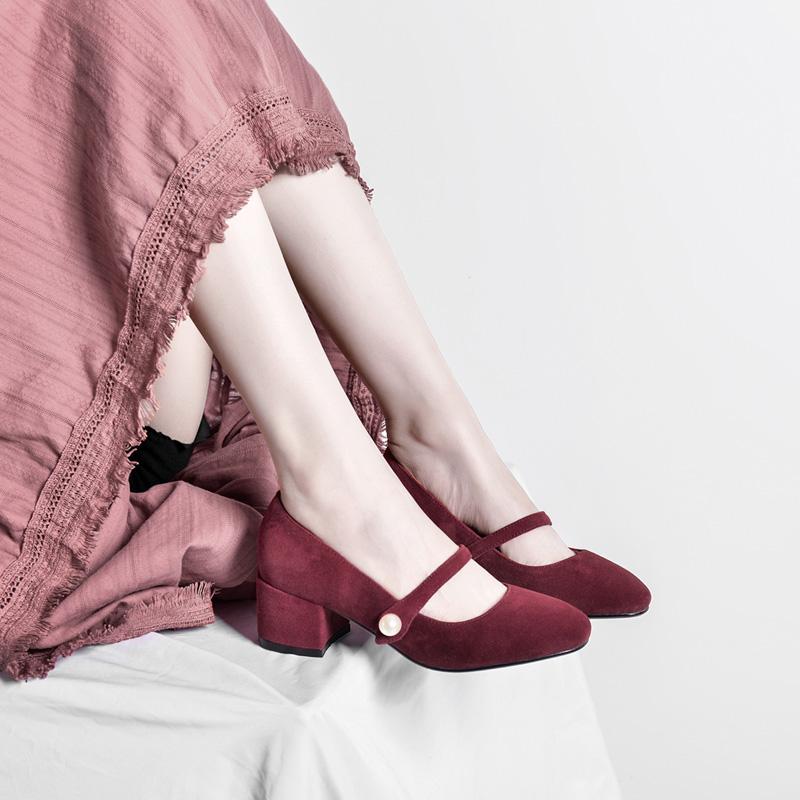 真皮高跟复古玛丽珍磨砂裸色单鞋方头浅口一字扣粗跟绒面中跟女鞋
