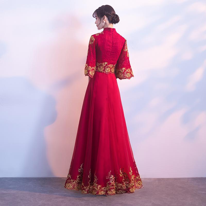 敬酒服新娘2019秋款酒红色旗袍中式晚礼服裙女结婚衣服中国风回门