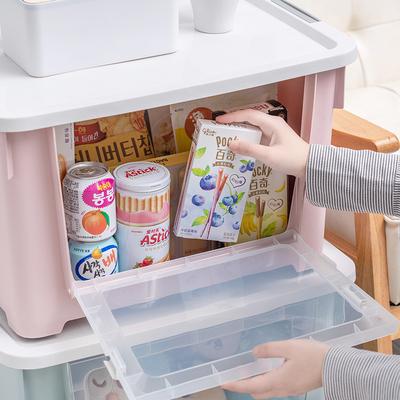 特大号收纳箱塑料前开式加厚整理箱衣服玩具储物箱零食收纳箱大码