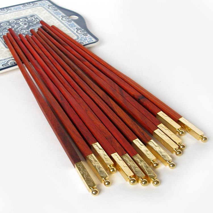 酸枝紅木筷子1雙2雙5雙10雙 高檔中國風實木家用尖頭原木筷子定製