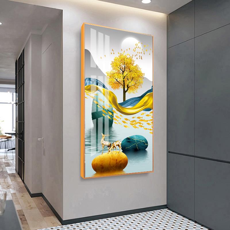 入戶裝飾畫掛畫壁畫玄關畫過道豎版輕奢裝飾畫鑲鉆晶瓷畫時來運轉
