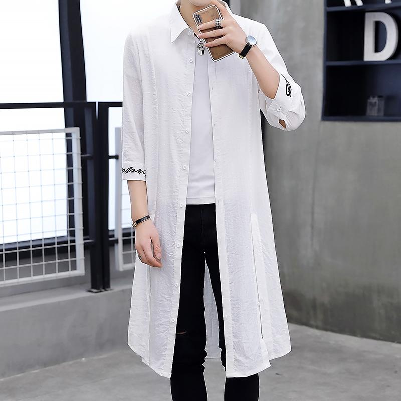 夏季薄款风衣男超薄透气防晒衣服中长款七分中袖外套过膝男士披风