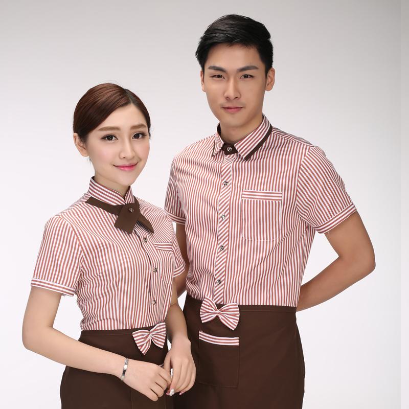 服务员工作服短袖夏季餐饮火锅店酒店西餐厅奶茶咖啡店女衬衣长袖
