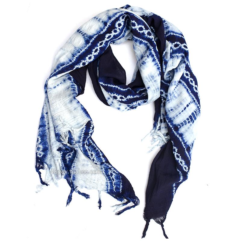 等您来体验白族扎染的艺术魅力(染好色没拆线)草木染手工扎染围巾