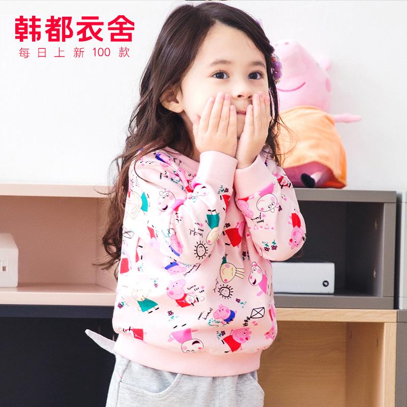 韩都衣舍童装2019秋装新款女童卫衣儿童宝宝小童印花纯棉长袖上衣