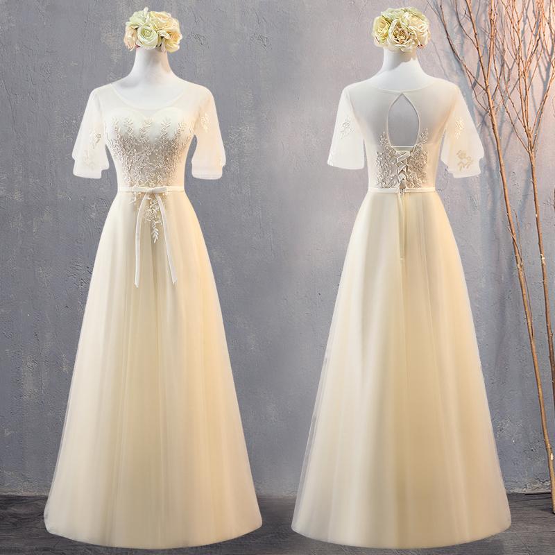 伴娘服仙气质2019新款姐妹团礼服香槟色伴娘团婚礼显瘦毕业连衣裙