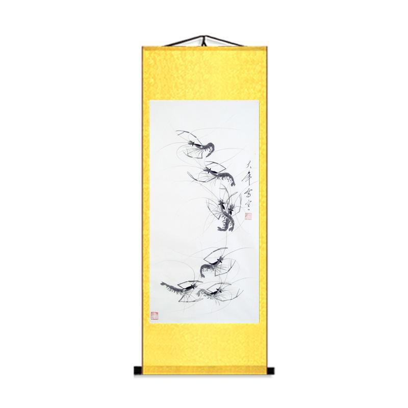 字畫梁大年水墨蝦卷軸畫豎版客廳背景墻蝦畫書房魚蟲國畫裝飾掛畫