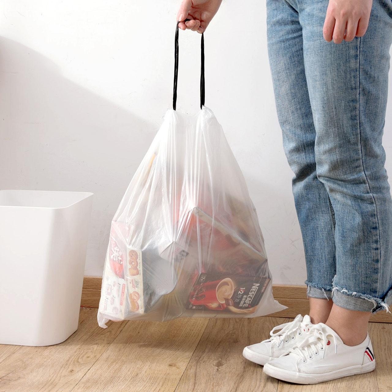 抽绳自动收口垃圾袋厨房拉绳背心塑料袋家用大号加厚手提式拉圾袋