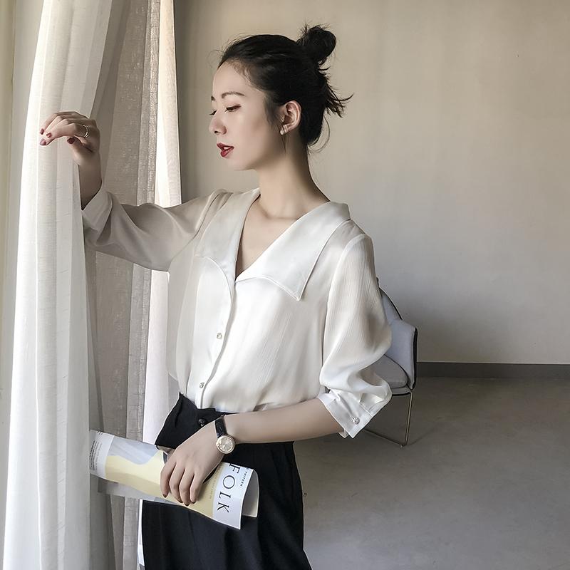 领上衣显瘦宽松洋气时尚衬衣潮 v 雪纺白衬衫女设计感小众心机初秋
