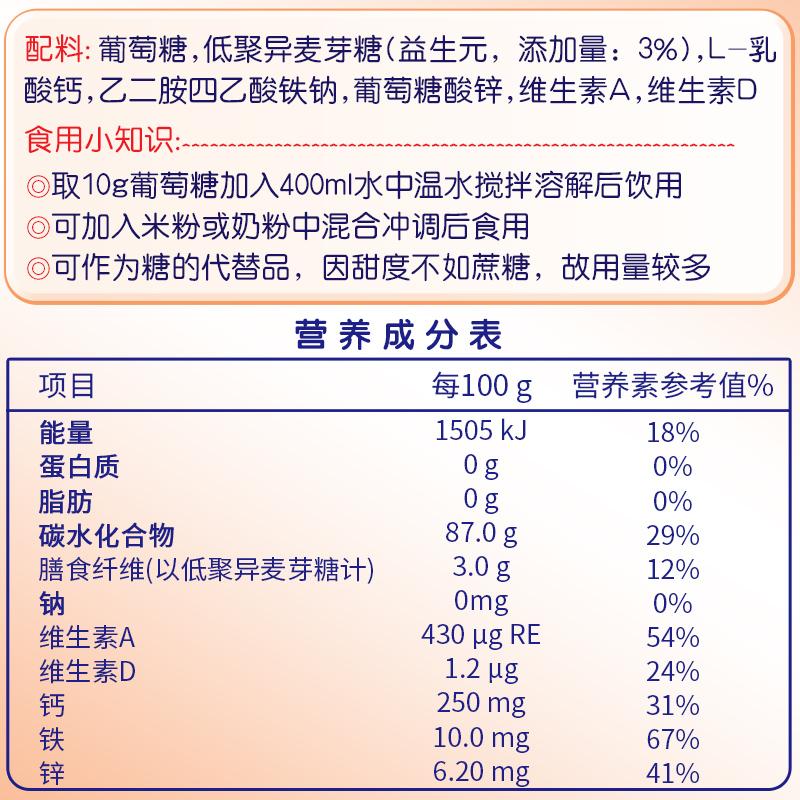 健诺葡萄糖铁锌钙益生元幼儿青少年成人袋装葡萄糖粉补充糖分400g