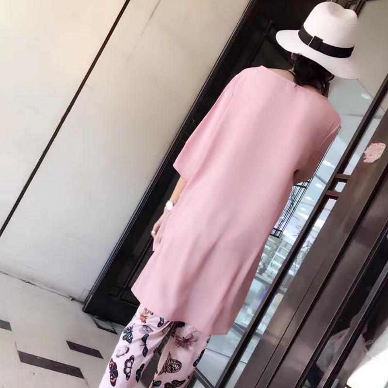 大码短袖t恤两件套女夏胖mm宽松圆领短袖七分裤套装欧洲站新款潮