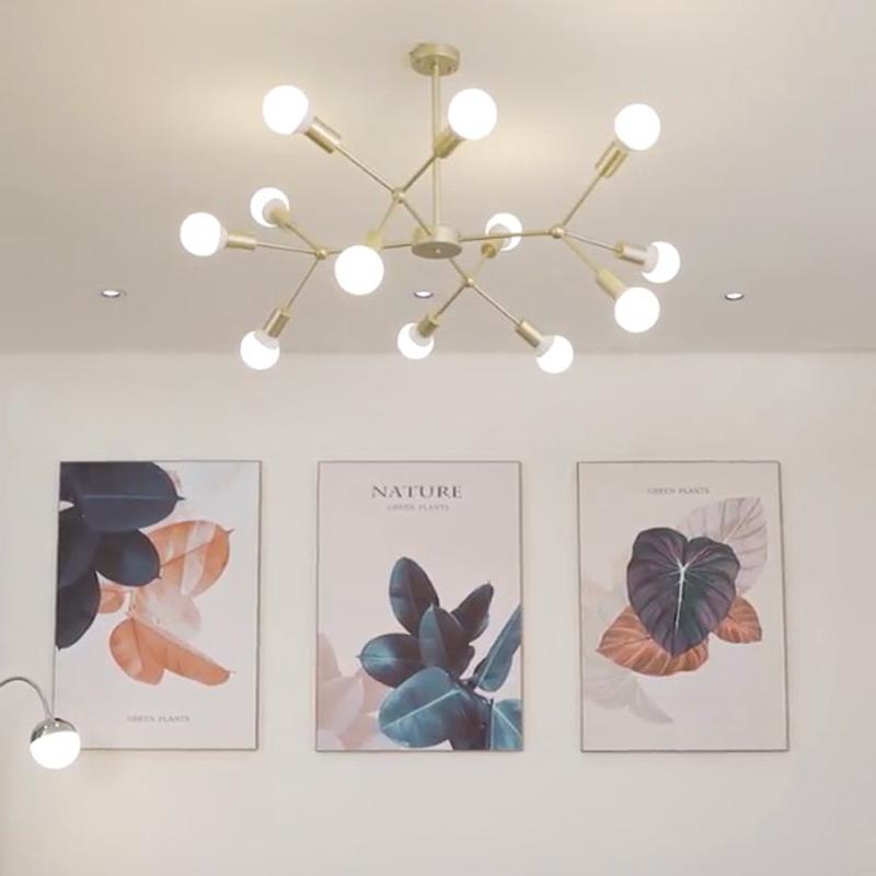 北欧客厅吊灯家用简约餐厅铁艺吸顶灯创意个性现代工业风卧室灯具