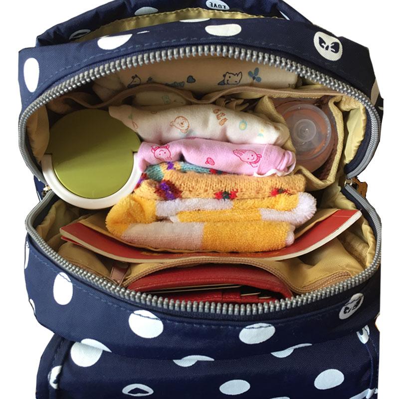 萌妈日记 波点时尚双肩妈咪包 多功能大容量潮流小号母婴包