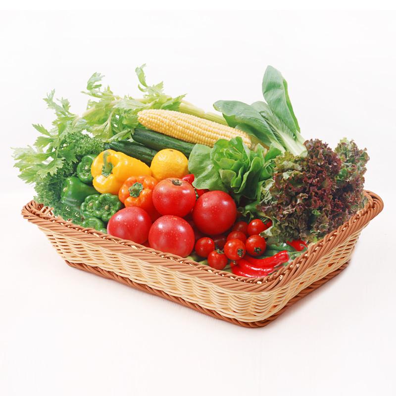 滕阁仿藤编水果篮客厅家用超市展示果盘托盘面包蔬菜柳编收纳筐高清大图