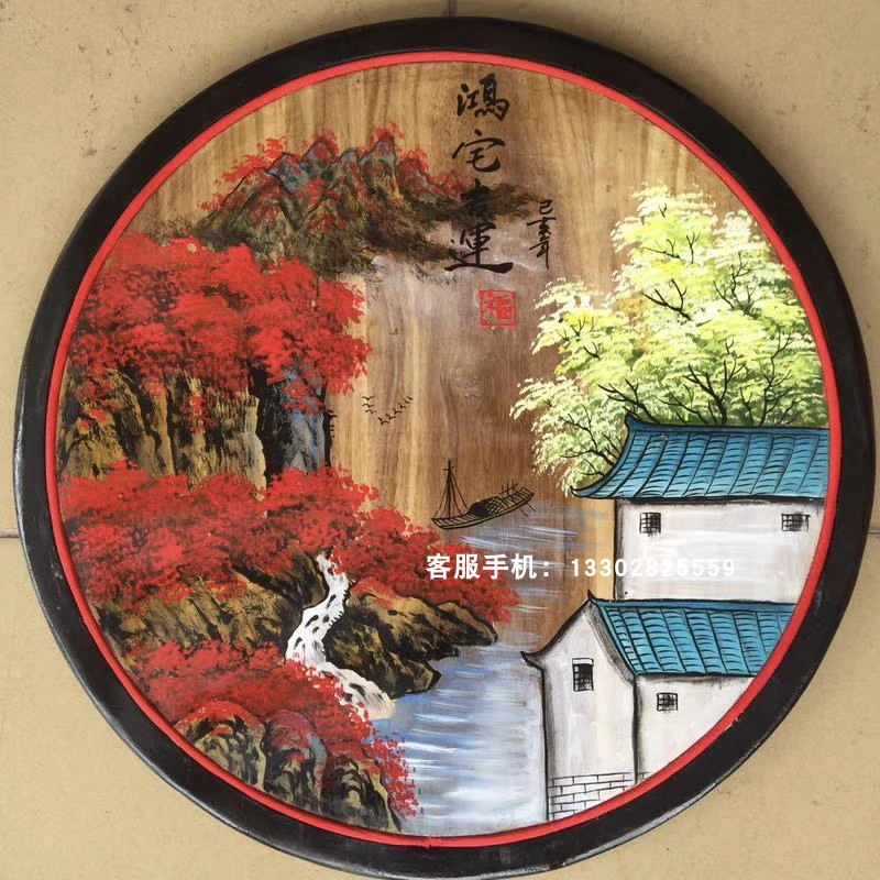 新中式圆形装饰画农家乐墙饰挂件复古手绘山水花鸟民宿客厅挂画